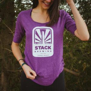 Woman weraing purple Stack shirt