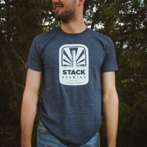 Man wearing grey Stack t-shirt