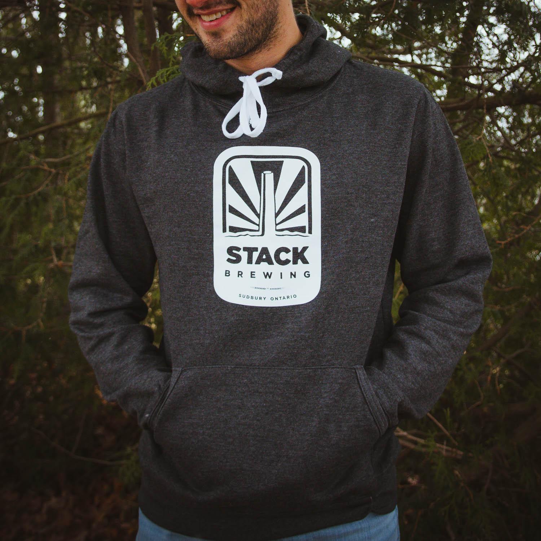 Man wearing classic logo Stack hoodie